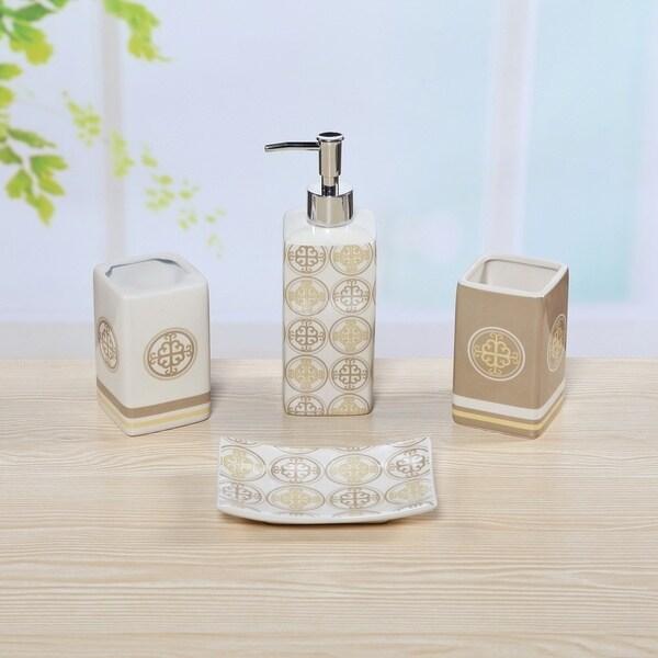 4-piece Ceramic Tan Medallion Tan Bath Set