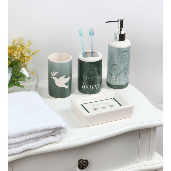 4-piece Ceramic Green Peace Bath Set