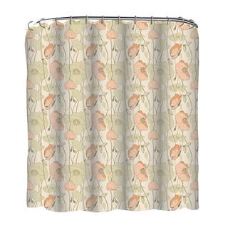 13-piece Asian Poppies Printed Peva Shower Curtain with Roller Hooks