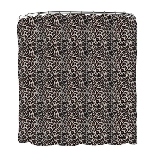 13-piece Leopard Printed Peva Shower Curtain with Roller Hooks