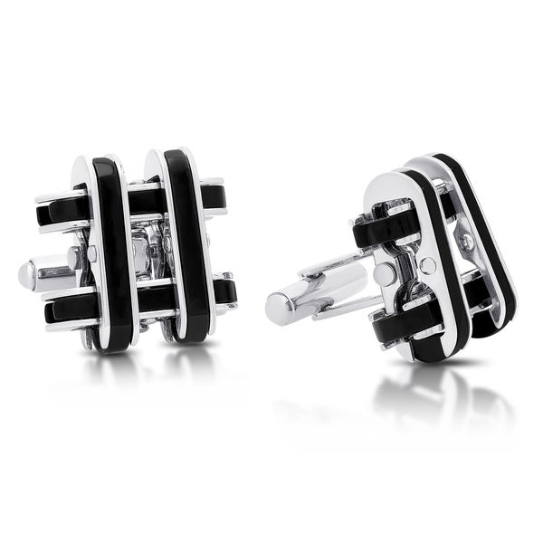 Gravity Stainless Steel and Black Inlay Hashtag Cufflinks