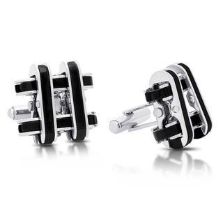 "Gravity Men's Stainless Steel/Black Inlay ""Hashtag"" Cuff-links"