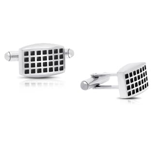 Gravity Stainless Steel and Black Enamel Squares Cufflinks