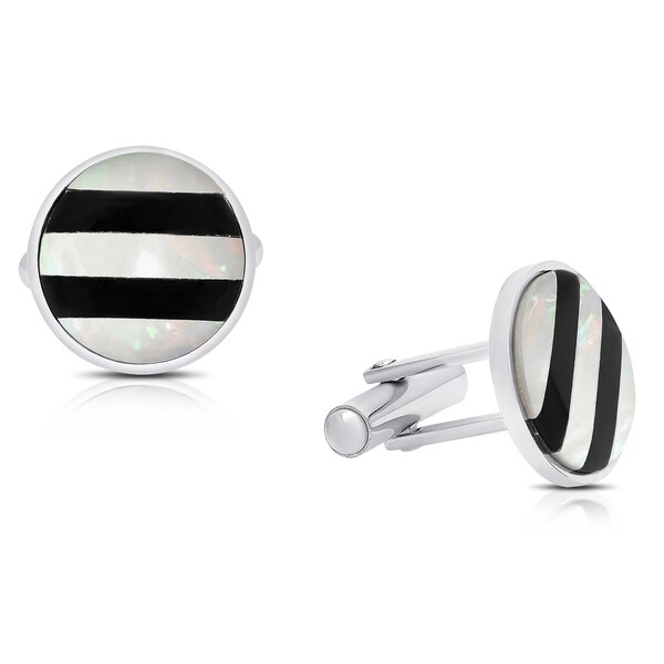 Gravity Stainless Steel Black and White Striped Round Cufflinks