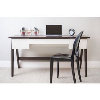 TrendLine Camerino Off-white 3-drawer Home Office Desk