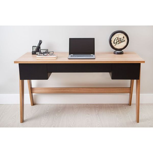 Trend Line Home Natural and Black 3-drawer Office Desk