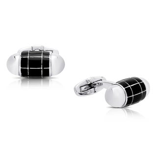 Gravity Stainless Steel and Black Enamel Bullet Cufflinks