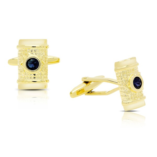 Gravity Gold Plated Simulated Sapphire Etruscan Rectangular  Cufflinks 17087095