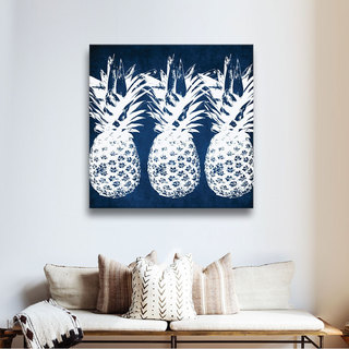 ArtWall Linda Woods's Indigo Pineapple, Gallery Wrapped Canvas