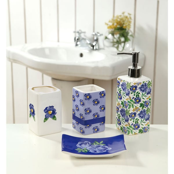 4-piece Ceramic Blue Springtime Bath Set
