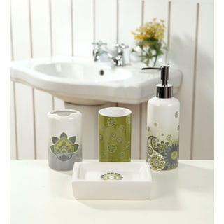 4-piece Ceramic Grey Paisley Bath Set