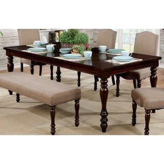 "Furniture of America Edella Classic Antique Cherry 90"" Dining Table"