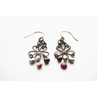 Jewel Tone Etched Floral Earrings