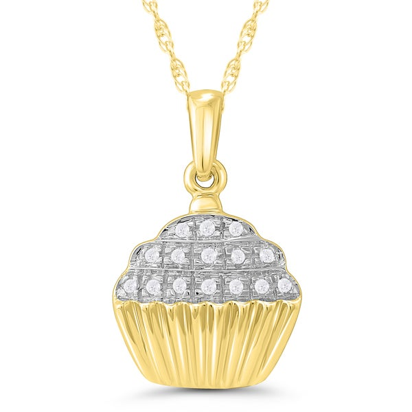 10k Yellow Gold Diamond Accent Cup Cake Pendant 17087601