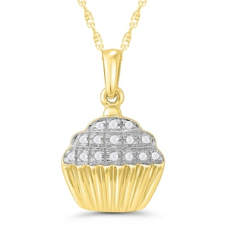 10k Yellow Gold Diamond Accent Cup Cake Pendant