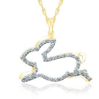 10k Yellow Gold 1/10ct TDW Diamond Bunny Pendant ( I-J, I2-I3)