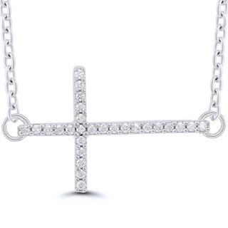 Sterling Silver 1/10ct TDW Diamonds Horizontal Cross Necklace (I-J, I2-I3)