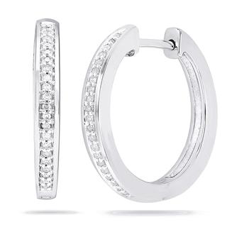 Sterling Silver 1/8ct TDW Diamond Oval Hoop Earrings (I-J, I2-I3)