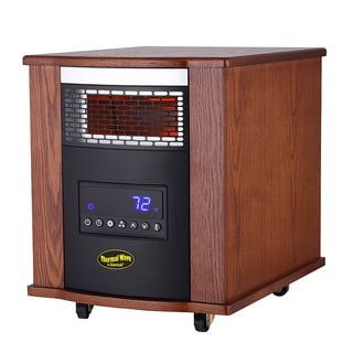 Thermal Wave by SUNHEAT TW1500-UV Modern Oak Infrared Heater with UV Germicidal Air Purification and Remote Control