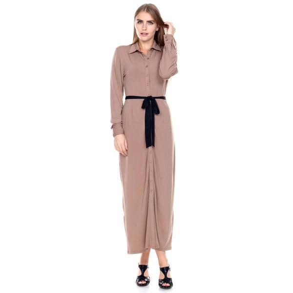 Stanzino Women's Long Sleeve Maxi Shirt Dress