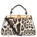 Rimen and Co. Women's Fashion Leather Leopard Kiss-lock Handbag