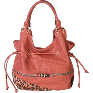 Rimen and Co. Top Handle Drawstring Hobo Handbag with Leopard At The Bottom