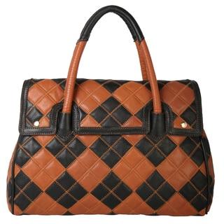 Diophy Multicolor Patchwork Top Zipper Genuine Leather Large Satchel