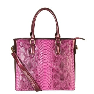 Rimen and Co. Faux Snakeskin Embossed Patent Leather Structured Tote