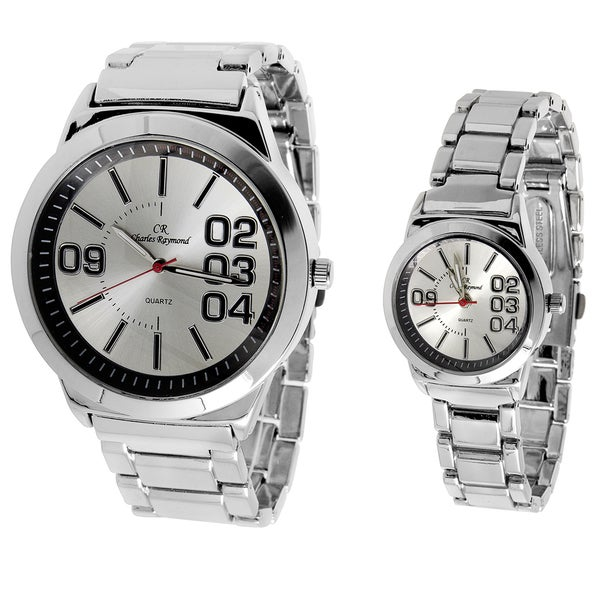 Charles Raymond His and Hers 2142 Silver Tone Watch Set
