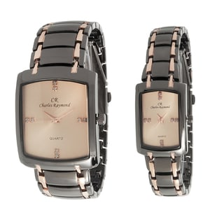 Chares Raymond His and Hers 1776 RoseGold Tone Watch Set