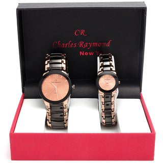 Charles Raymond His and Hers 1478 Rose Goldtone Watch Set
