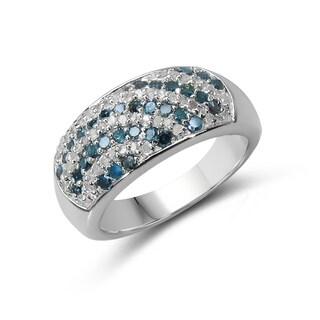 Malaika Sterling Silver 5/8ct TDW Blue and White Diamond Ring (I-J, I2-I3)