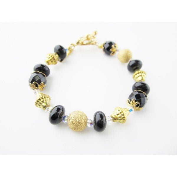 Black with Gold Bracelet