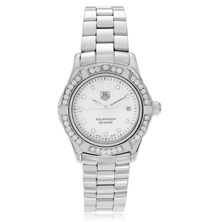 Tag Heuer Women's Stainless Steel 1/2 CT TDW Diamond 'Aquaracer' WAF1416-BA0813 Link Watch