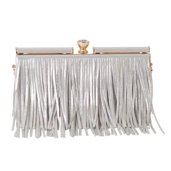 J. Furmani Metallic Fringes Clutch