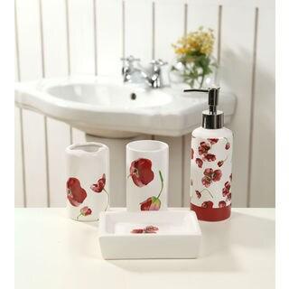 Ceramic Red Poppies 4-piece Bath Set