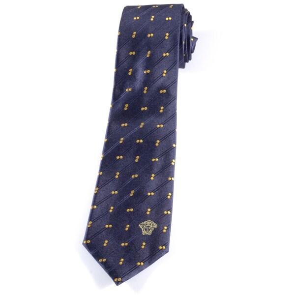 Versace 100-percent Italian Silk Navy/ Yellow Dot Neck Tie