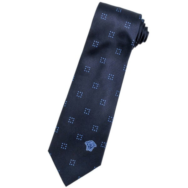 Versace 100-percent Italian Silk Navy Square Neck Tie