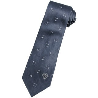 Versace 100-percent Italian Silk Slate Grey Square Neck Tie