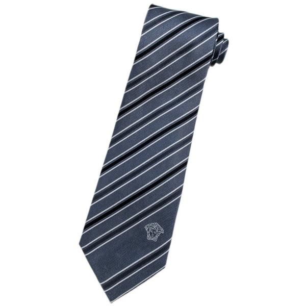 Versace 100-percent Italian Silk Slate Grey Stripe Neck Tie