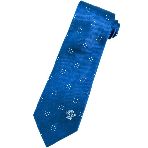 Versace 100-percent Italian Silk Blue/ White Square Pattern Neck Tie
