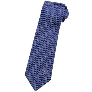 Versace 100-percent Italian Silk Blue Circle Neck Tie