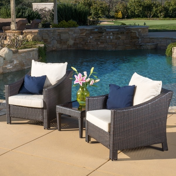 Christopher Knight Home Outdoor Antibes 3 piece Wicker Bistro Set with Cushio