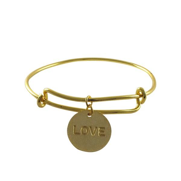 Gold Finish Love Charm Adjustable Bangle Bracelet