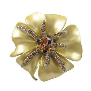 Rhodium Finish Gold Enamel and Crystals Flower Pin Brooch