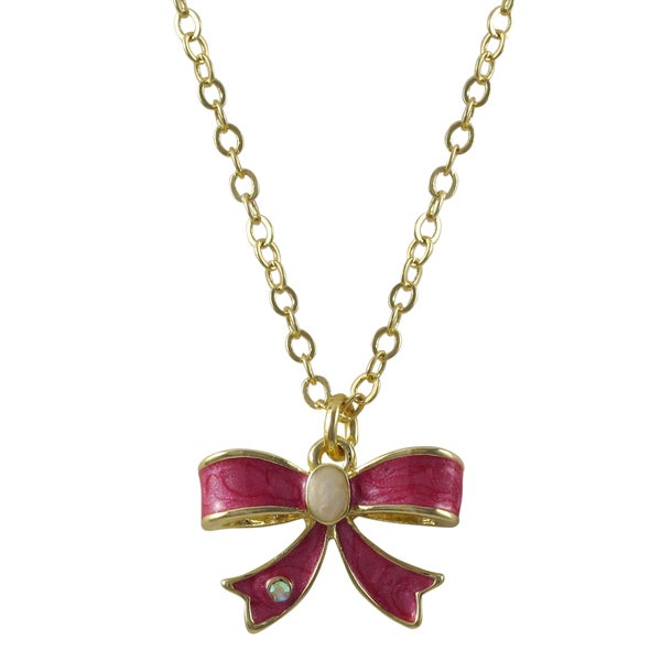 Gold Finish Crystal and Marbled Enamel Bow Pendant Necklace
