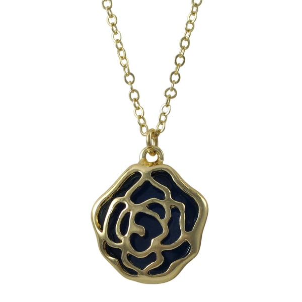 Gold Finish Enamel Cutout Rose Flower Pendant Necklace