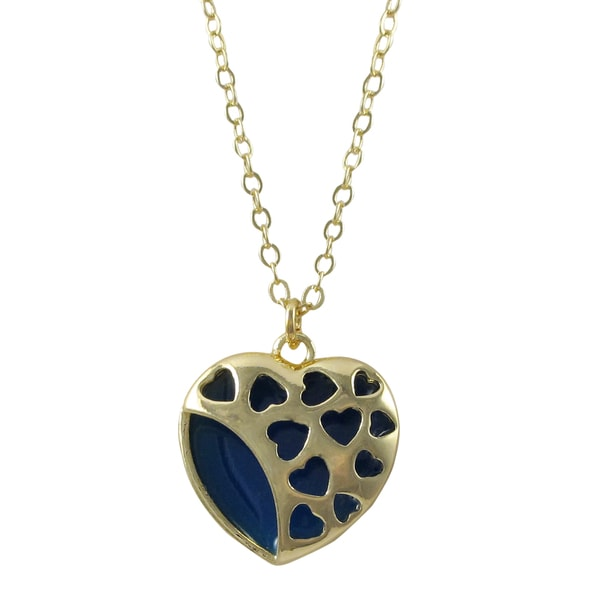 Gold Finish Enamel Cutout Heart Pendant Necklace