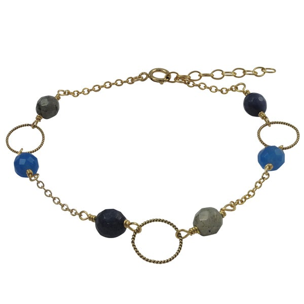 Gold Filled Blue Semi-precious Gemstone Children's Bracelet