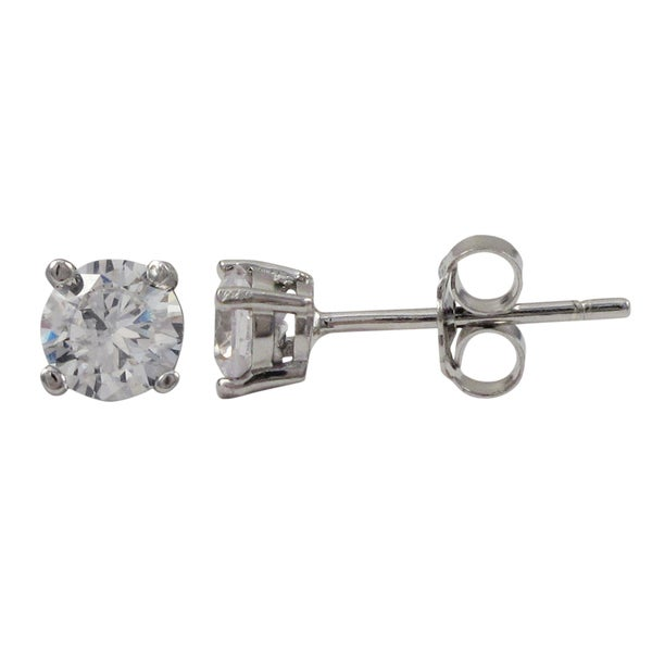 Sterling Silver White Cubic Zirconia Stud Earrings